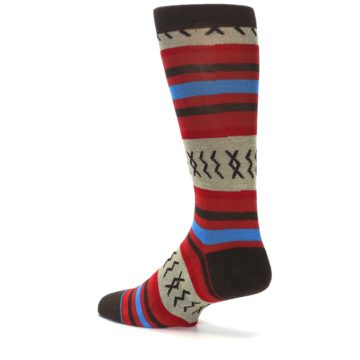 Image of Red Brown Blue Striped Men's Casual Socks (side-2-back-14)