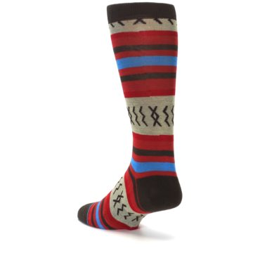 Image of Red Brown Blue Striped Men's Casual Socks (side-2-back-15)