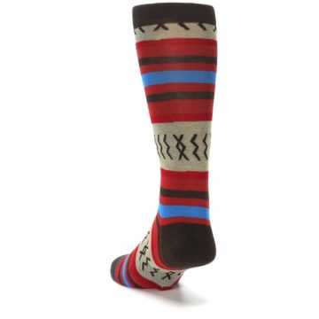 Image of Red Brown Blue Striped Men's Casual Socks (side-2-back-16)