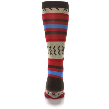 Image of Red Brown Blue Striped Men's Casual Socks (back-18)
