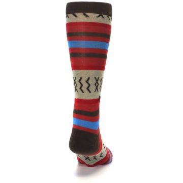 Image of Red Brown Blue Striped Men's Casual Socks (back-19)