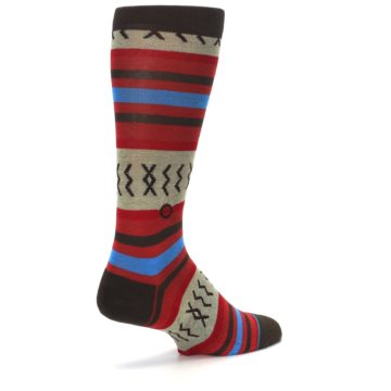 Image of Red Brown Blue Striped Men's Casual Socks (side-1-back-22)