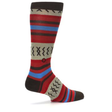 Image of Red Brown Blue Striped Men's Casual Socks (side-1-23)
