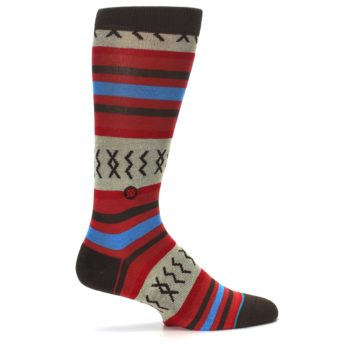 Image of Red Brown Blue Striped Men's Casual Socks (side-1-24)