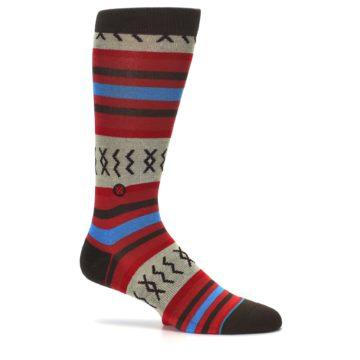 Image of Red Brown Blue Striped Men's Casual Socks (side-1-26)