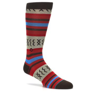 Image of Red Brown Blue Striped Men's Casual Socks (side-1-27)