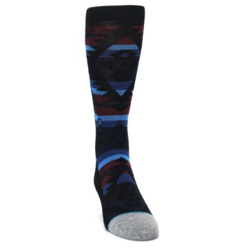 Image of Black Triangle Pattern Men's Casual Socks (side-1-front-03)