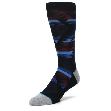 Image of Black Triangle Pattern Men's Casual Socks (side-2-front-08)