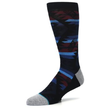 Image of Black Triangle Pattern Men's Casual Socks (side-2-09)