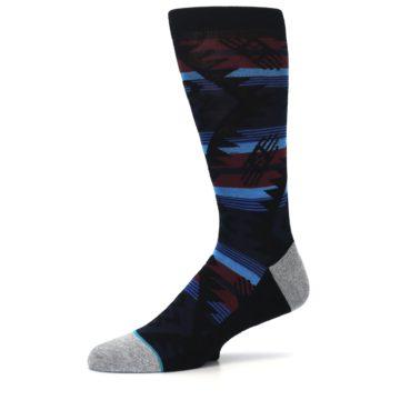 Image of Black Triangle Pattern Men's Casual Socks (side-2-10)