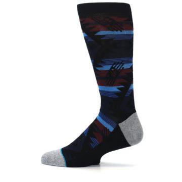 Image of Black Triangle Pattern Men's Casual Socks (side-2-12)