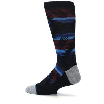Image of Black Triangle Pattern Men's Casual Socks (side-2-13)
