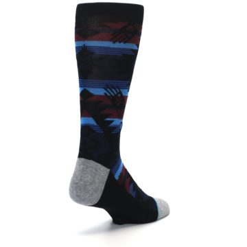 Image of Black Triangle Pattern Men's Casual Socks (side-1-back-21)