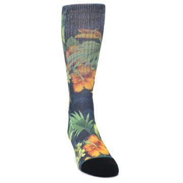 Image of Blue Orange Flowered Men's Casual Socks (side-1-front-03)