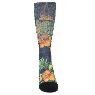 Image of Blue Orange Flowered Men's Casual Socks (front-04)