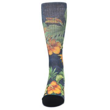 Image of Blue Orange Flowered Men's Casual Socks (front-05)