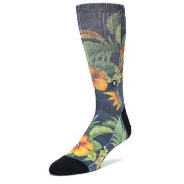 Image of Blue Orange Flowered Men's Casual Socks (side-2-front-08)