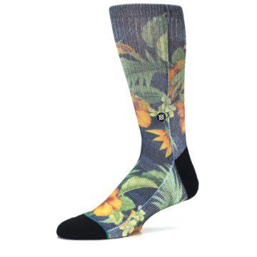 Image of Blue Orange Flowered Men's Casual Socks (side-2-10)