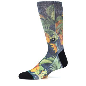 Image of Blue Orange Flowered Men's Casual Socks (side-2-11)