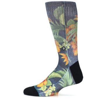 Image of Blue Orange Flowered Men's Casual Socks (side-2-12)
