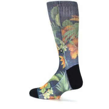 Image of Blue Orange Flowered Men's Casual Socks (side-2-back-14)