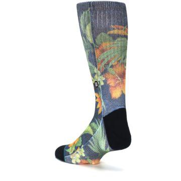 Image of Blue Orange Flowered Men's Casual Socks (side-2-back-15)