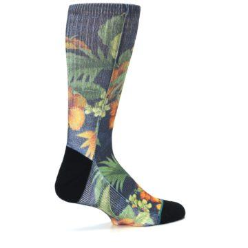Image of Blue Orange Flowered Men's Casual Socks (side-1-23)