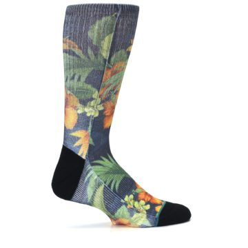 Image of Blue Orange Flowered Men's Casual Socks (side-1-24)