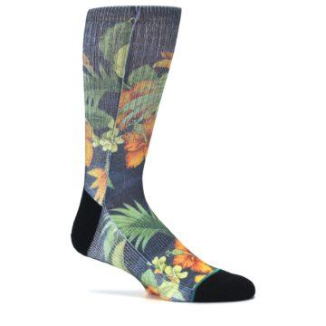 Image of Blue Orange Flowered Men's Casual Socks (side-1-25)