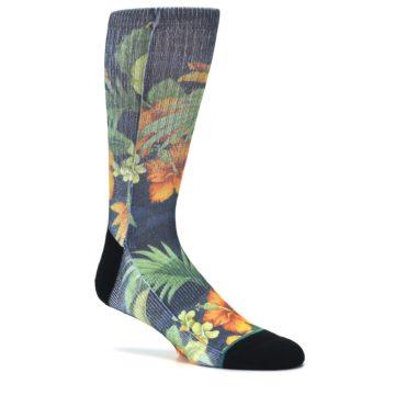 Image of Blue Orange Flowered Men's Casual Socks (side-1-26)