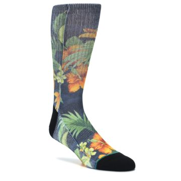 Image of Blue Orange Flowered Men's Casual Socks (side-1-27)
