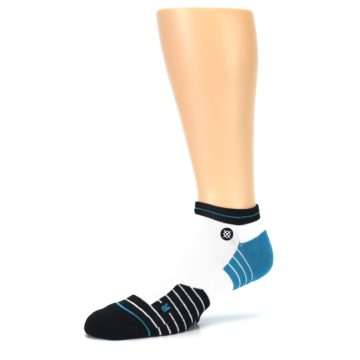 Image of White Black Stripe Men's Athletic Ankle Socks (side-2-09)