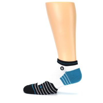 Image of White Black Stripe Men's Athletic Ankle Socks (side-2-12)