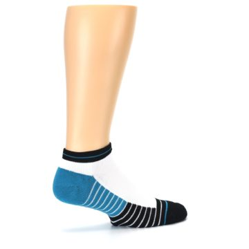 Image of White Black Stripe Men's Athletic Ankle Socks (side-1-23)