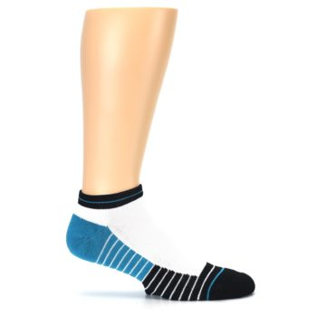 Image of White Black Stripe Men's Athletic Ankle Socks (side-1-25)