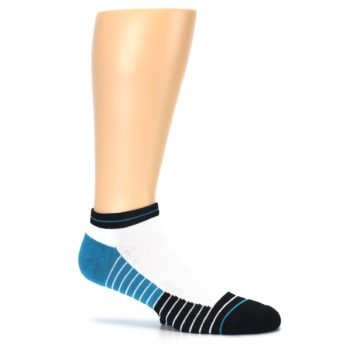 Image of White Black Stripe Men's Athletic Ankle Socks (side-1-26)