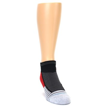 Image of Grey Red Stripe Men's Athletic Ankle Socks (side-1-front-03)