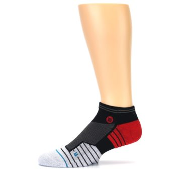 Image of Grey Red Stripe Men's Athletic Ankle Socks (side-2-11)