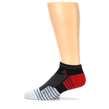 Image of Grey Red Stripe Men's Athletic Ankle Socks (side-2-12)