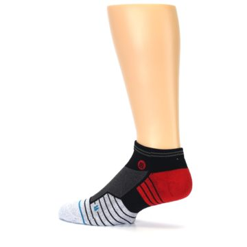 Image of Grey Red Stripe Men's Athletic Ankle Socks (side-2-13)