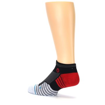 Image of Grey Red Stripe Men's Athletic Ankle Socks (side-2-back-14)