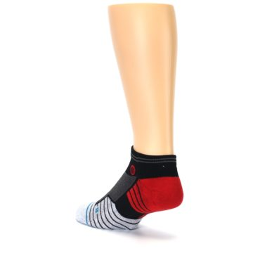 Image of Grey Red Stripe Men's Athletic Ankle Socks (side-2-back-15)