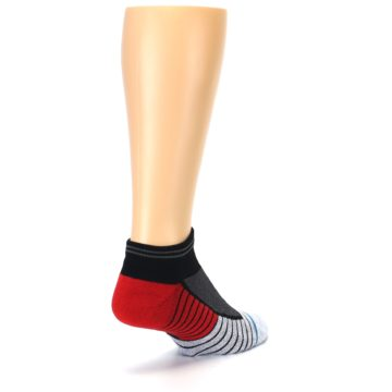 Image of Grey Red Stripe Men's Athletic Ankle Socks (side-1-back-21)