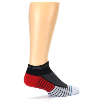 Image of Grey Red Stripe Men's Athletic Ankle Socks (side-1-23)