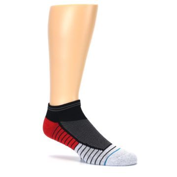 Image of Grey Red Stripe Men's Athletic Ankle Socks (side-1-26)