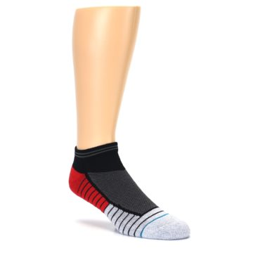 Image of Grey Red Stripe Men's Athletic Ankle Socks (side-1-27)