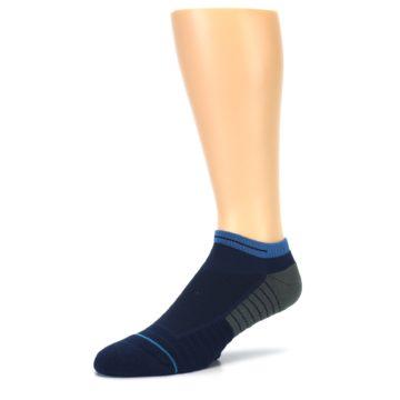 Image of Navy Grey Men's Athletic Ankle Socks (side-2-09)