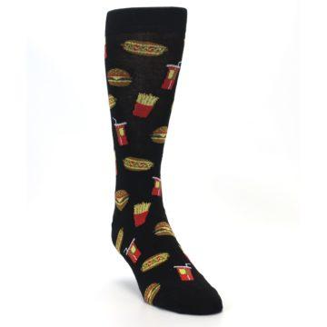 Image of Black Fast Food Burgers Fries Men's Dress Socks (side-1-front-02)
