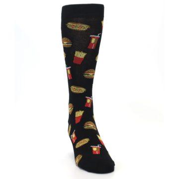 Image of Black Fast Food Burgers Fries Men's Dress Socks (side-1-front-03)
