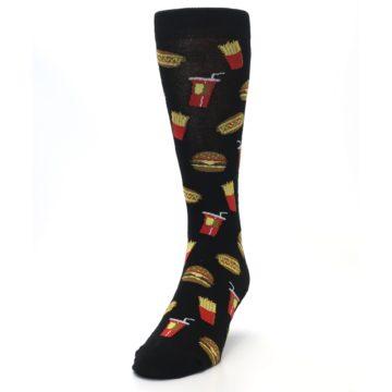 Image of Black Fast Food Burgers Fries Men's Dress Socks (side-2-front-06)